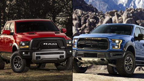 Dodge Ram Rebel Vs Raptor by 2017 Ford F 150 Raptor Vs 2016 Ram 1500 Rebel Stuff To