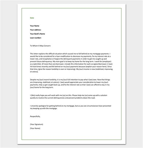Modification Pdf by Hardship Letter Template 10 For Word Pdf Format