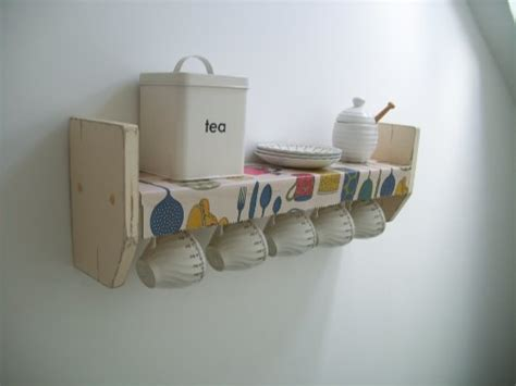 vintage shabby chic cream shelf oil cloth shelf  cup hooks kitchen shelves spice rack