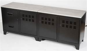Meuble Tele Industriel : meuble tv bois m tal industriel noir ~ Teatrodelosmanantiales.com Idées de Décoration