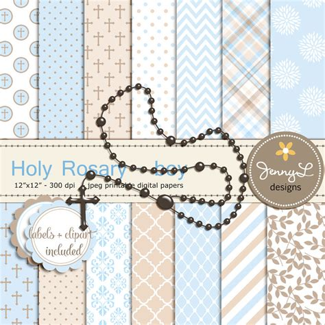 Rosary Boy Baptism Digital Papers and Clipart First