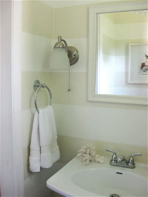 how to paint a bathroom here s how we painted subtle tone on tone cream stripes in our bathroom in under four hours