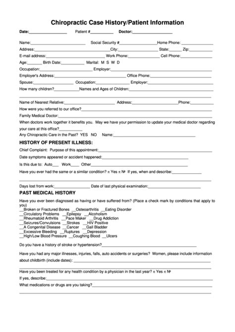 chiropractic case historypatient information form