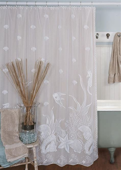 seascape fabric shower curtain  heritage lace bathroom