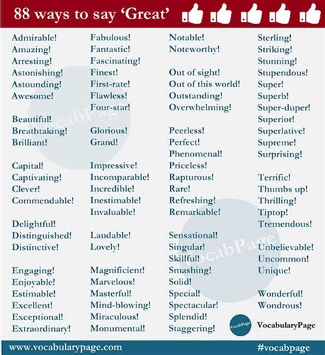 88 Ways To Say Great