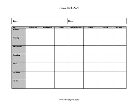 Day Sheet Template 7 Day Food Log Printable Calendar Template 2016