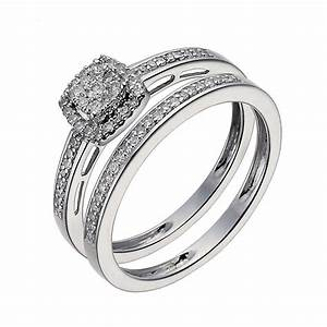 9ct white gold 025ct diamond cushion cluster bridal set With 9ct gold wedding ring sets