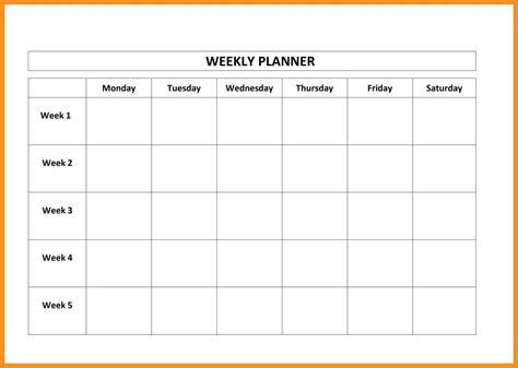 Monday Thru Friday Calendar Template Costumepartyrun