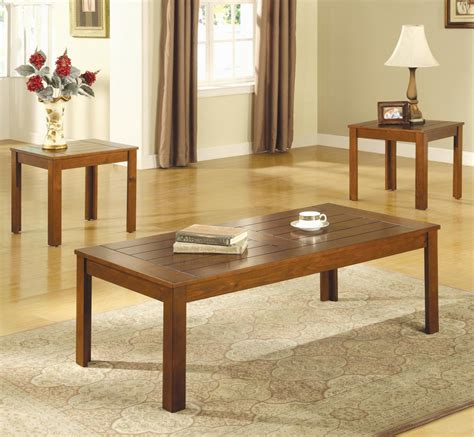Coaster 700570 Brown Wood Coffee Table Set Stealasofa