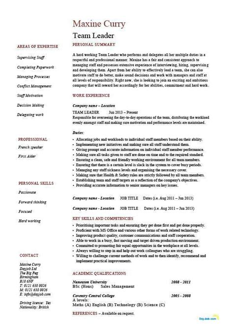 Team Manager Resume Exles by Team Leader Sle Resume Team Leader Resume Supervisor