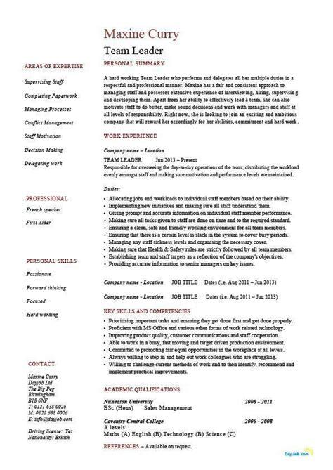 team leader sample resume team leader resume supervisor