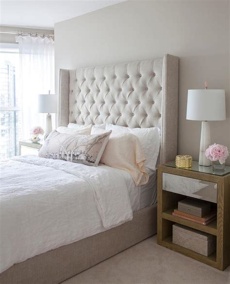 Bed With White Nightstands by Beige Wing Fabric Bed With Black Nightstands