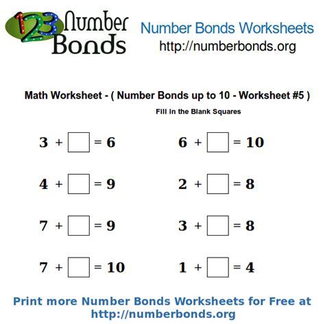 number bonds math worksheet up to 10 worksheet 5 number