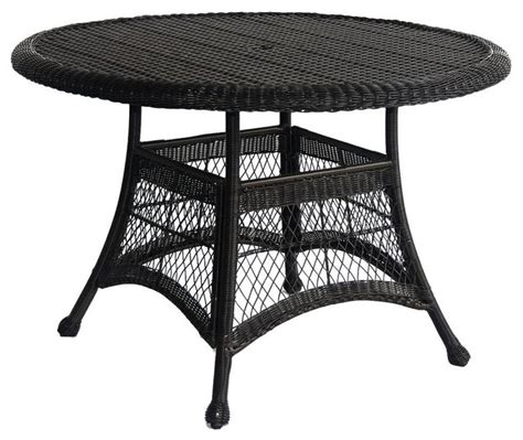 black resin wicker 44 5 quot outdoor dining patio table with
