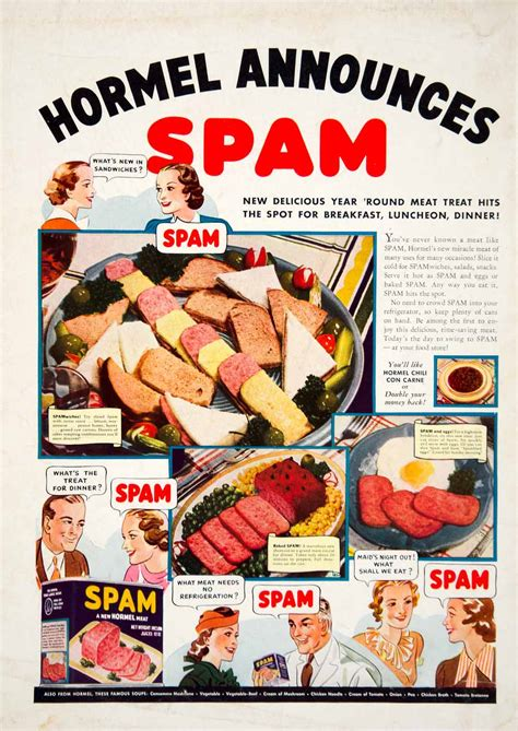 1938 Ad Vintage Hormel SPAM Canned Precooked Meat Food ...