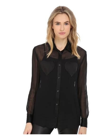 sheer black blouse moschino sheer sleeve blouse w chest