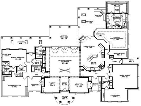 Double Bedroom 4 Bedroom Single Story House Plans, One