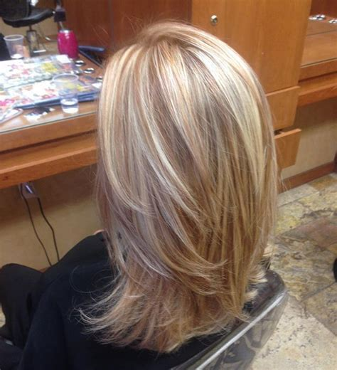 blonde highlights  copper  lights style  cut
