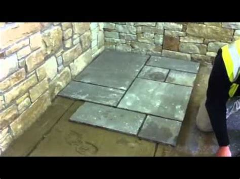 laying slate slabs how to lay paving stone youtube