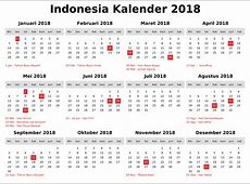 Free Calendar 2018 Indonesia with Holidays [FREE
