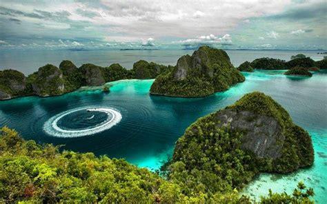 nature landscape island tropical forest sea rock