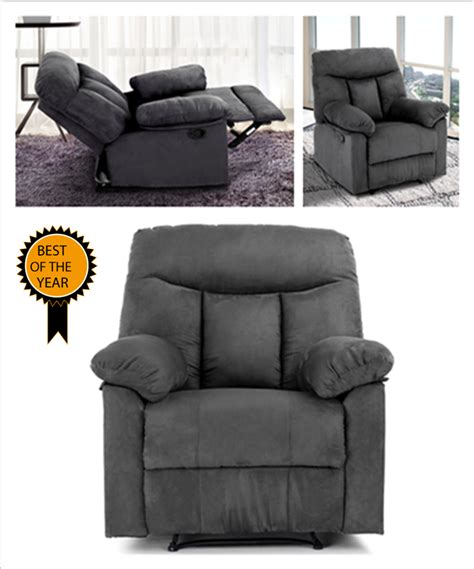 reclining padded chair with footrest single faux suede recliner sofa chair lounge seat tilt w
