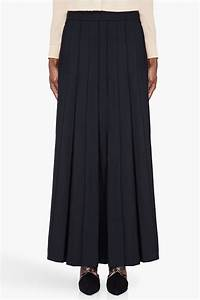 Marni Long Black Wool Pleated Skirt in Black | Lyst