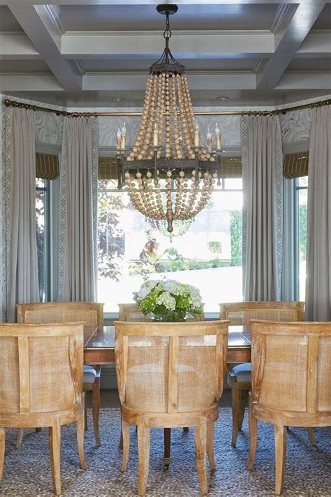 wood beads chandelier  coffered ceiling transitional