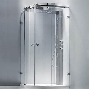 douche complete parois receveur et colonne round 5 aquabains With porte de douche coulissante avec radiateur infrarouge salle de bain avec minuterie