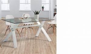 Table A Manger Blanc Et Bois : table manger design en bois blanc et en verre nadine 2 ~ Teatrodelosmanantiales.com Idées de Décoration