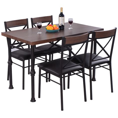 kitchen tables furniture 5 dining set table and 4 chairs wood metal kitchen