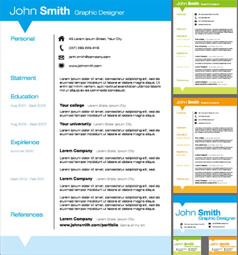 creative resume template design vector material 02