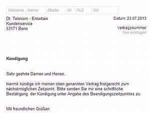 Kündigungsfrist Wohnung Beispiel : telekom entertain k ndigen vorlage download chip ~ Frokenaadalensverden.com Haus und Dekorationen