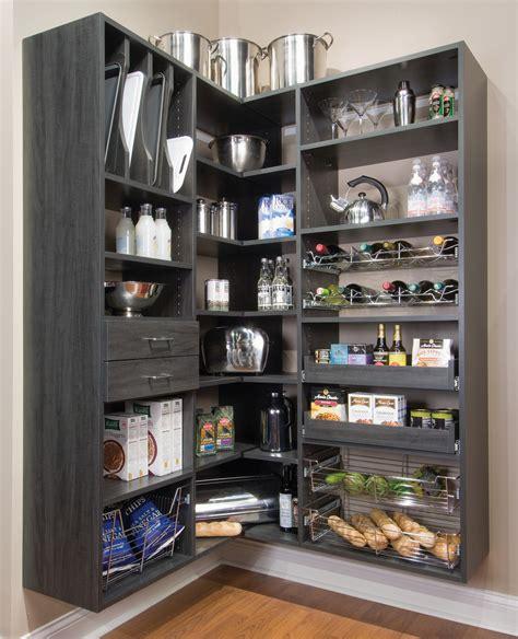 kitchen shelves design floating black painted wooden l shaped pantry 2536