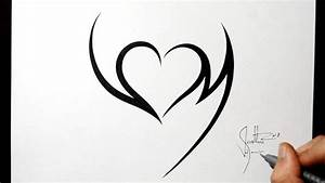 Combining Initials V and M with a Heart - Tribal Tattoo ...