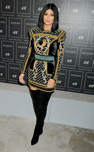 kylie jenner at balmain x hm collection launch in nyc With robe balmain h m