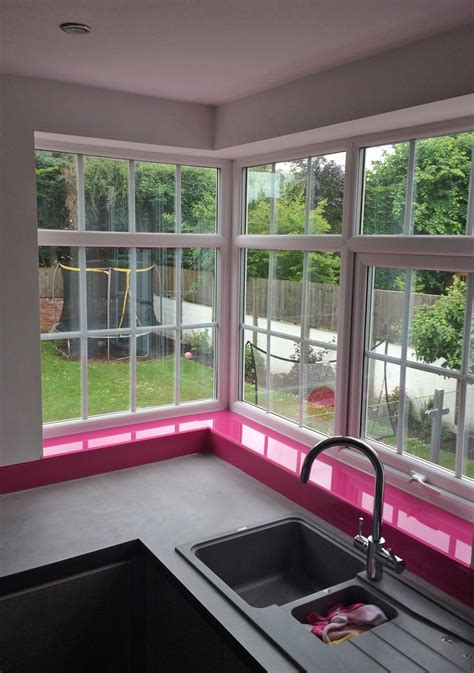 hot pink glass splashback  window sills fitted  southport