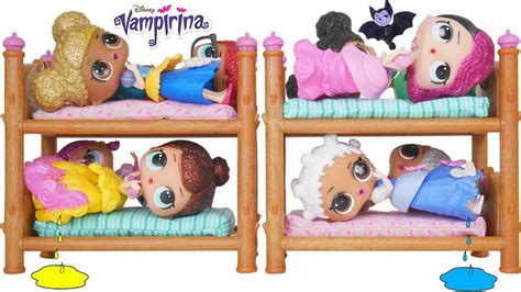 lol surprise dolls disney princess bunk beds youtube