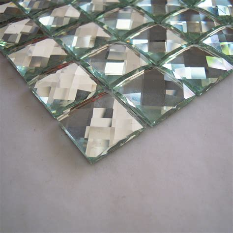 glossy silver color 13 faced mirror glass mosaic