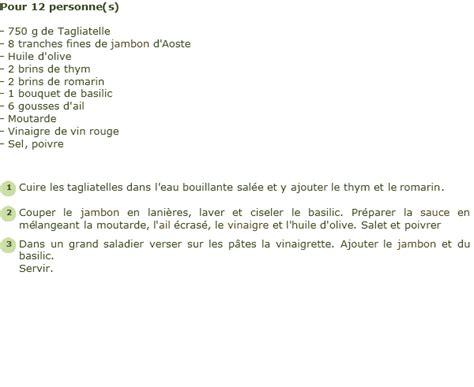 cuisiner un faisan recette salade de tagliatelles au jambon d 39 aoste facile
