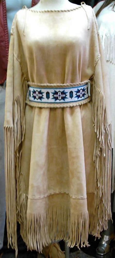 light gold suede deer hide dress   loom beaded belt