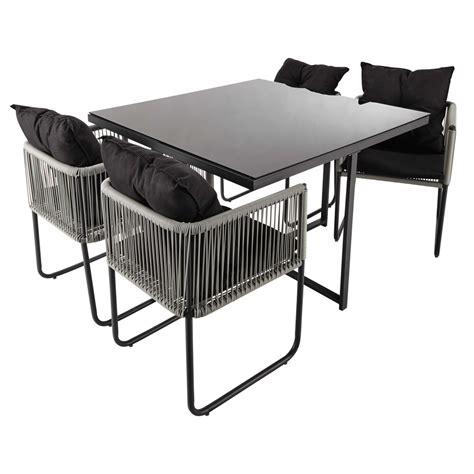 chaise et table de jardin table de jardin 4 chaises de jardin en résine et tissu