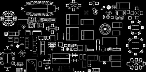household furniture  items top view dwg block  autocad designs cad