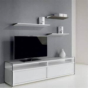 Meuble Tv 180 Cm : meubles tv meubles et rangements meuble tv talac 180 cm 2 portes coulissantes blanc mat inside75 ~ Teatrodelosmanantiales.com Idées de Décoration