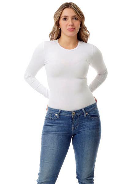 Womens Cotton Spandex Compression Crew Neck Top Long