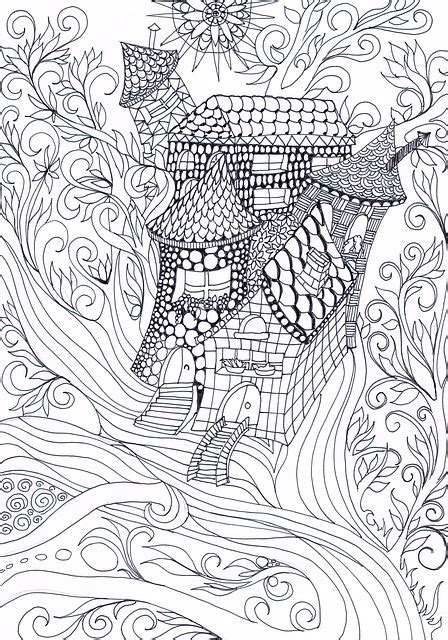 illustration zentangle treehouse drawing