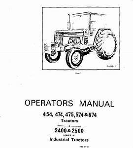 International 454  474  475  574 674 Tractor Ops Manual
