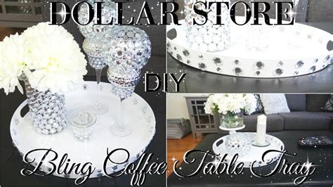 diy dollar store bling coffee table tray   decor