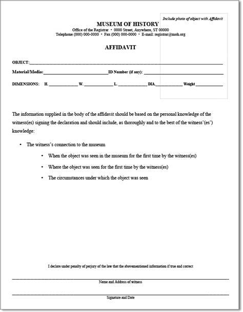 simple template sample  standard affidavit form