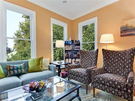 livingroom walls apricot walls make electic living room pop hgtv